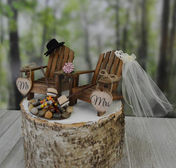 image 0 - S'mores Themed Camping Wedding Cake Topper Fire Pit Mr&Mrs Etsy