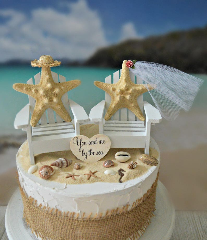 Beach Starfish Wedding Cake Topper Beach Chairs Adirondack Destination Wedding Nautical Themed Bride And Groom Seashells Beach Decorations