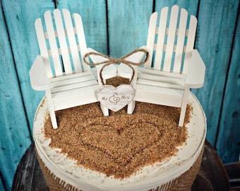 White Adirondack chairs-beach chairs-beach-wedding-cake topper-destination wedding-beach-bride-groom-nautical-Mr and Mrs-sign-wedding sign