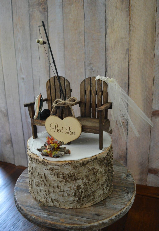 Fishing Camping Themed Wedding Cake Topper Fishing Pole Camp Etsy