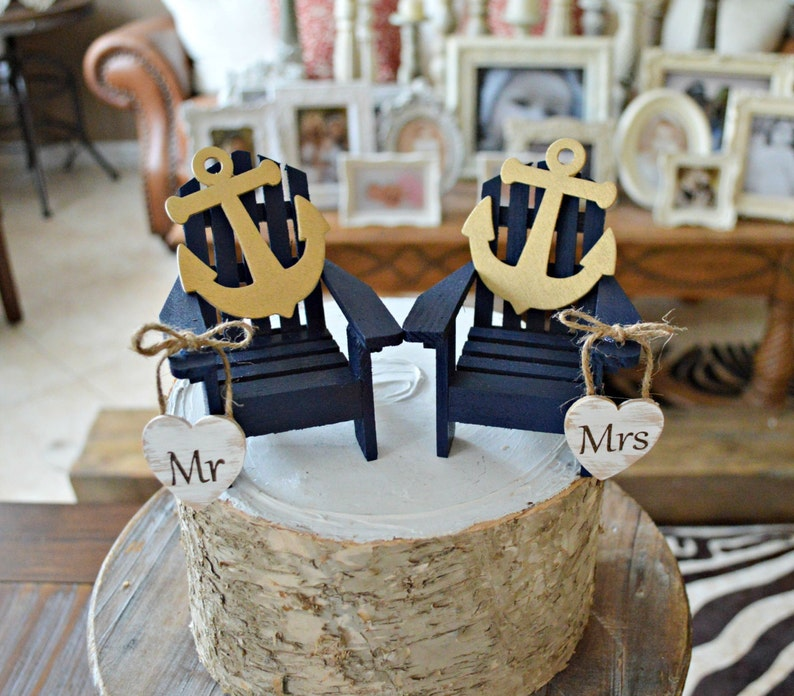 Navy Anchor Wedding Cake Topper Chairs Wedding Cake Topper Sailor Marine Nautical Anchor Bride And Groom Mr And Mrs Beach Wedding Chairs