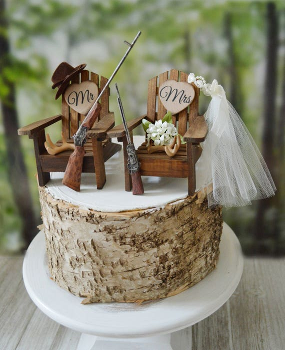 Hunting Themed Wedding Cake Topper Antler Shot Guns Rifle Bride And Groom The Hunt Is Over Camouflage Deer Hunter Deer Wedding Grooms Cake