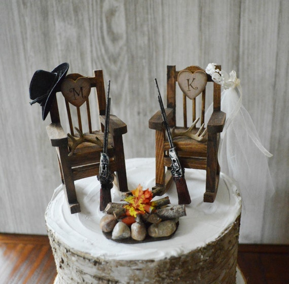 Surprising Wood Rocking Chair Hunting Bow And Arrow Wedding Cake Topper Deer Hunter Groom Bride Country Wedding Riffle Shotgun Camping Fire Pit Mr Mrs Gamerscity Chair Design For Home Gamerscityorg