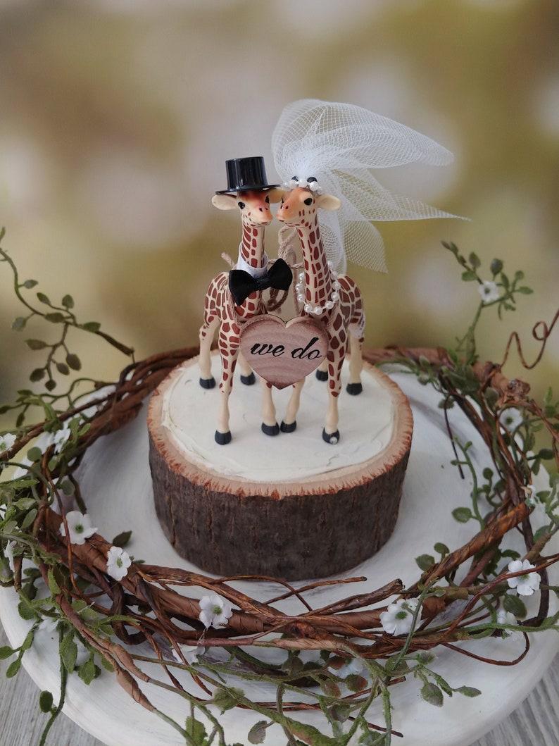 Giraffe-woodlands-wedding cake topper-giraffe-wedding-just image 0