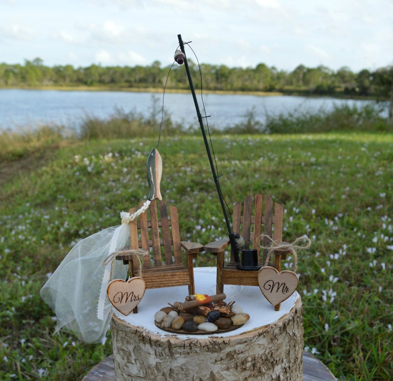 Fishing Lake House Cabin Themed Wedding Cake Topper Fishing Etsy