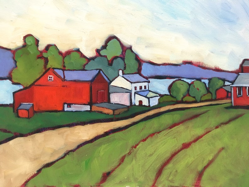 Red Barn and Green Field Landscape Oil Painting Original image 0