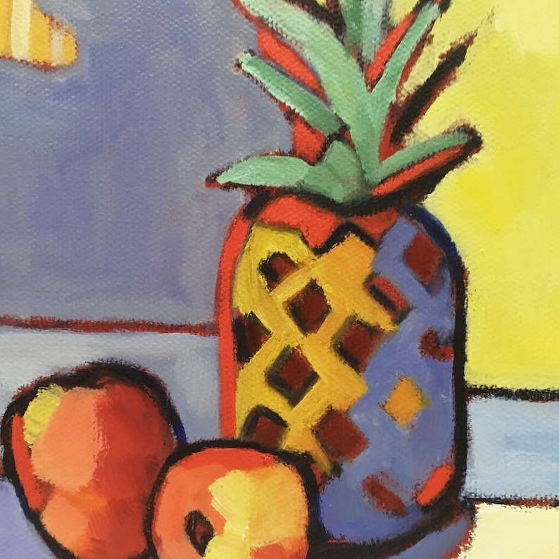 Rendered Impressions Original Small Paintings The Pineapple Motif Abstract Still Life Oil Painting on Canvas