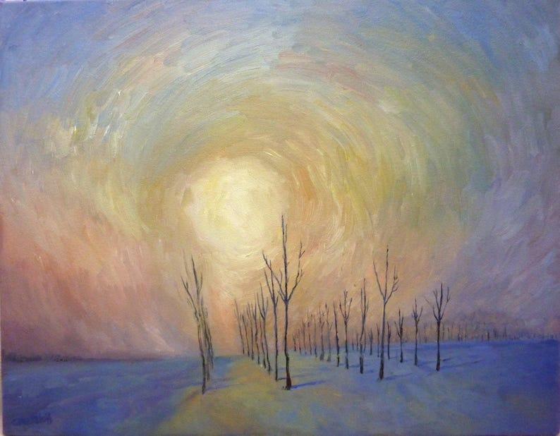 Quiet Sunrise Original Art  Landscape  Oil Painting on image 0