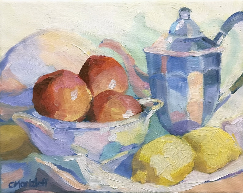 Still Life Original Small Oil Painting on Canvas with Fruit image 0