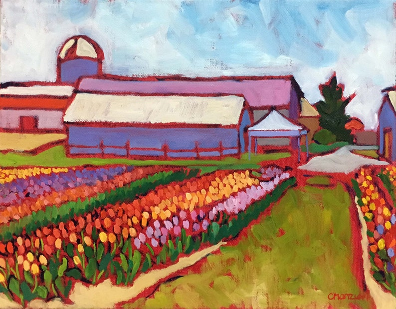 Tulip Fields Oil Painting on Canvas Landscape Painting image 0