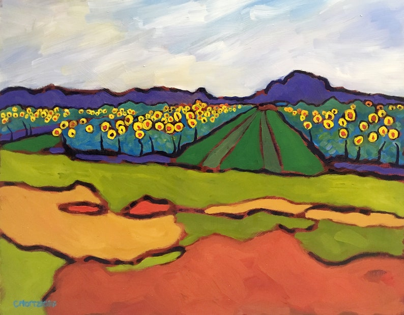 Sunflower Fields Original Oil Painting Abstract Landscape image 0