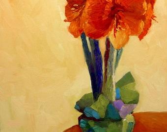 Original Still Life Oil Painting on Canvas Red Amaryllis