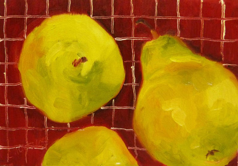 Small Still Life Oil Painting on Canvas Pears for a Picnic by image 0