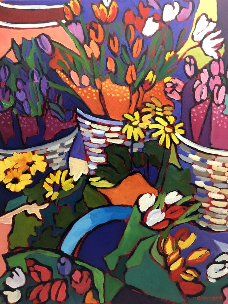 Flower Baskets and Tulips Original Oil Painting on Canvas image 0