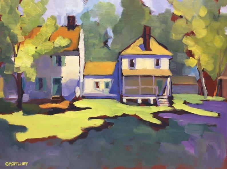 Original Landscape Oil Painting Abstract Landscape Bucks image 0