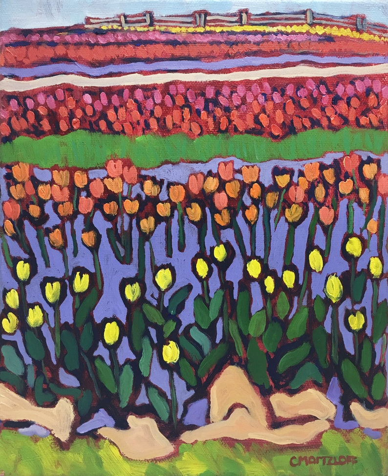 Tulips Painting Landscape Colorful Original Oil Painting image 0