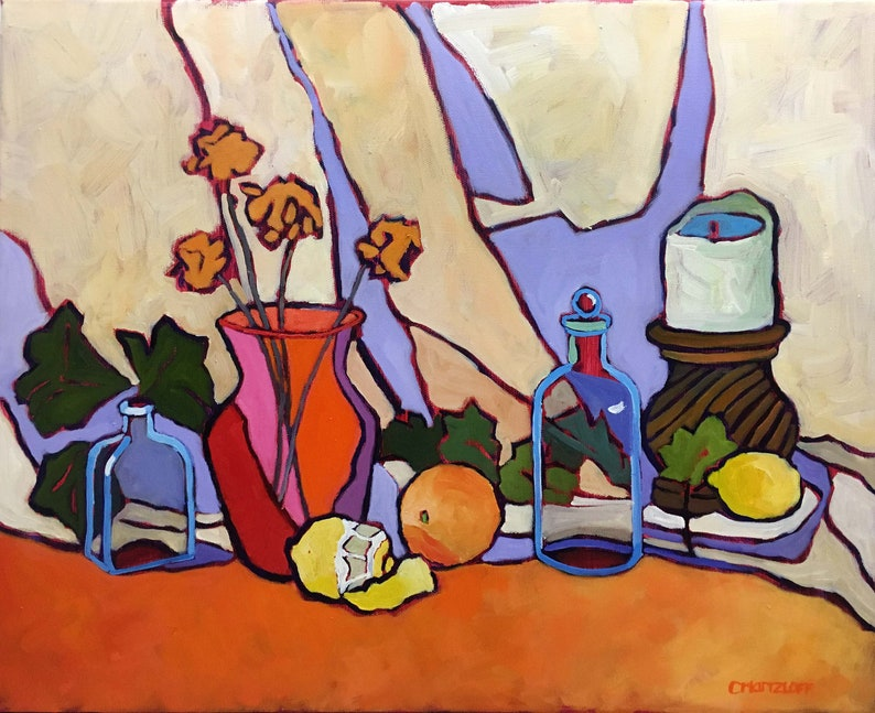 Abstract Still Life Oil Painting on Canvas Contemporary image 0