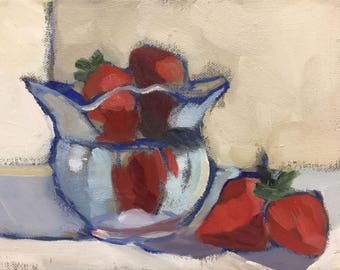 Strawberries  Small Abstract Still Life Oil Painting on Canvas