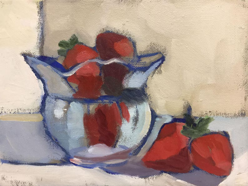Strawberries Still Life Oil Painting on Canvas  Art Small image 0
