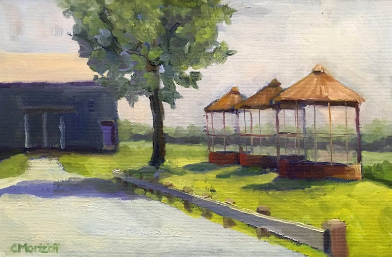 Original Painting Landscape Oil Painting on Canvas Farm image 0