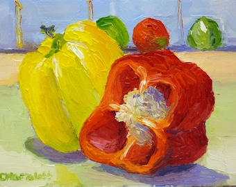 Happy Peppers Original Still Life Oil Painting on Canvas