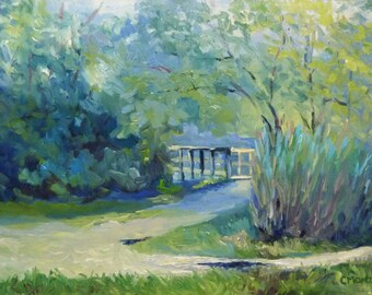 Plein Air Landscape Oil Painting Pathways and Foliage