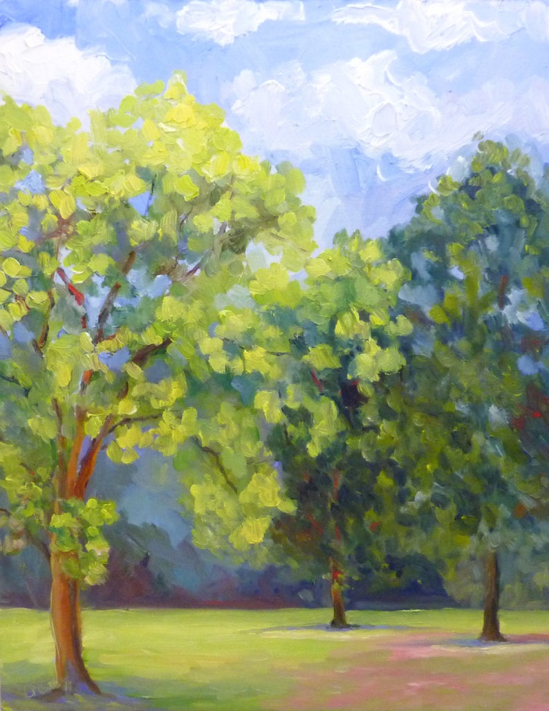 Oil Painting on Canvas Large Plein Air Landscape Big Summer image 0