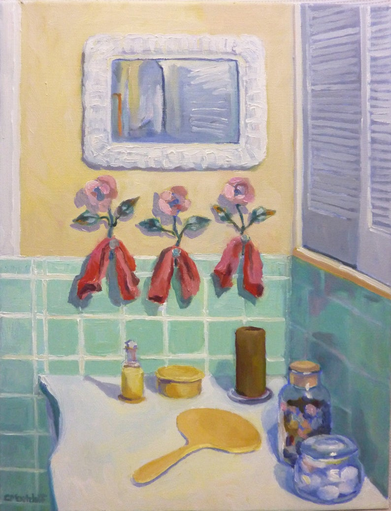 Morning Greeting Original Oil Painting on Canvas Interior image 0