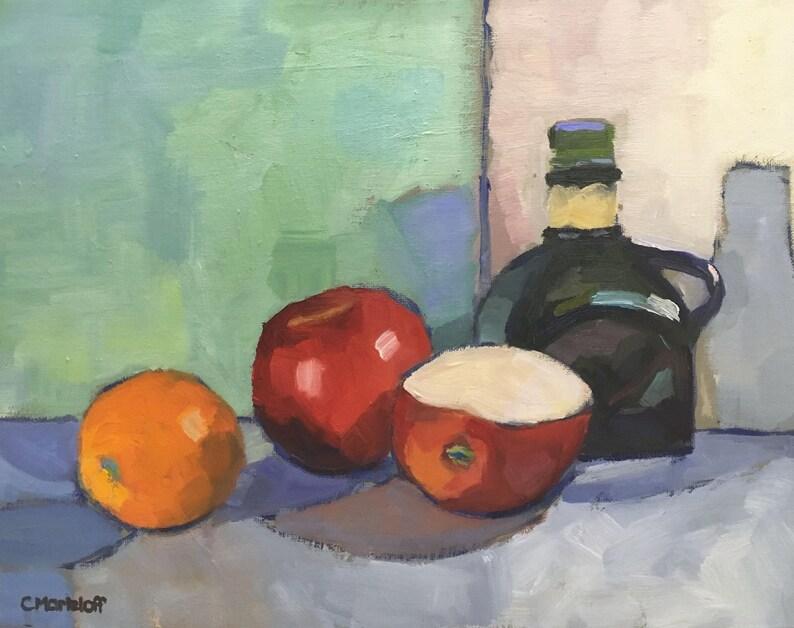 Still Life Oil Painting on Canvas Fruit and Vinegar Original image 0