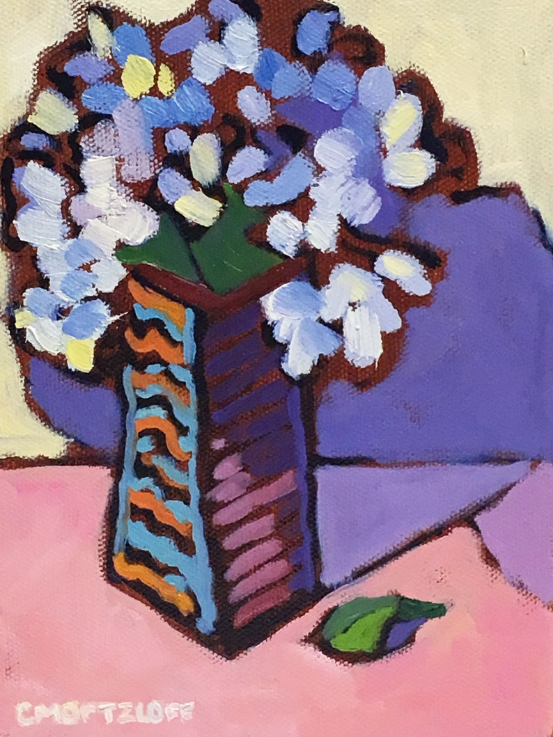 Small Still Life Oil Painting on Canvas Vertical Flowers image 0