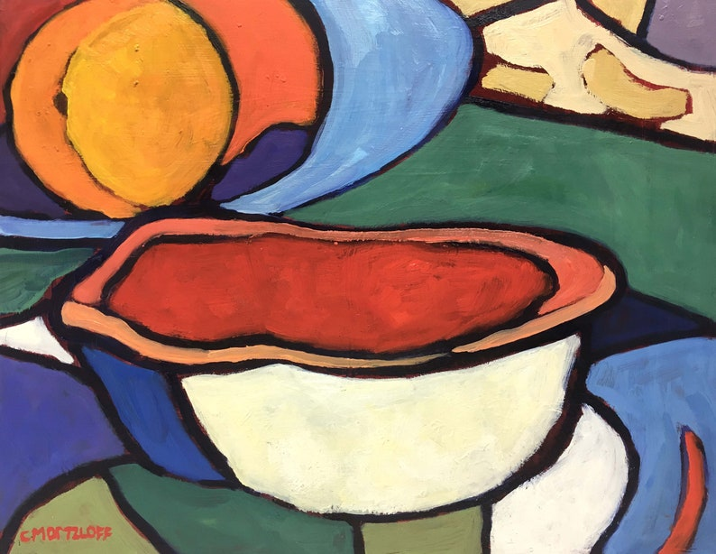 The Bowl Bold Still Life Original Oil Painting Colorful image 0