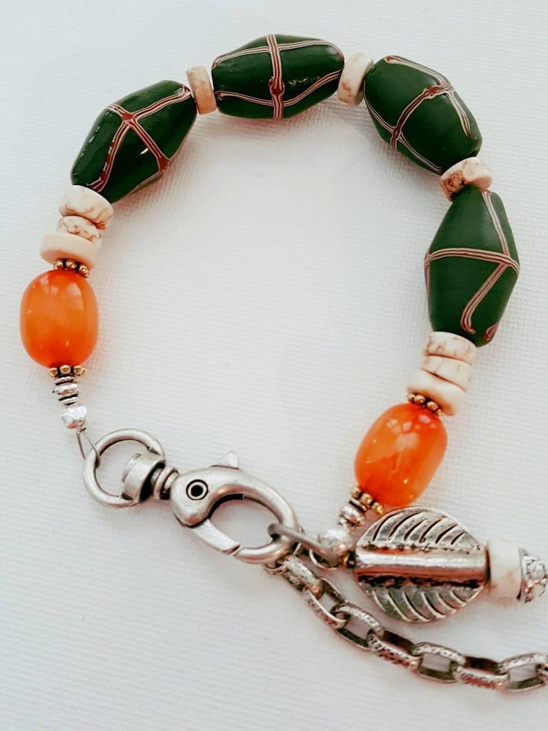 Trade Bead Bracelet  French Cross Beads  Hippie Jewelry  image 0
