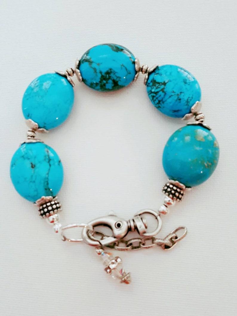 Sky Blue Jasper  Chunky Bracelet  Boho Style  Resort image 0