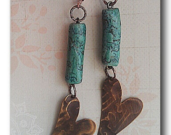 Rustic Dangle Earrings, Hammered Heart Earrings, Polymer Bead Dangle Earrings