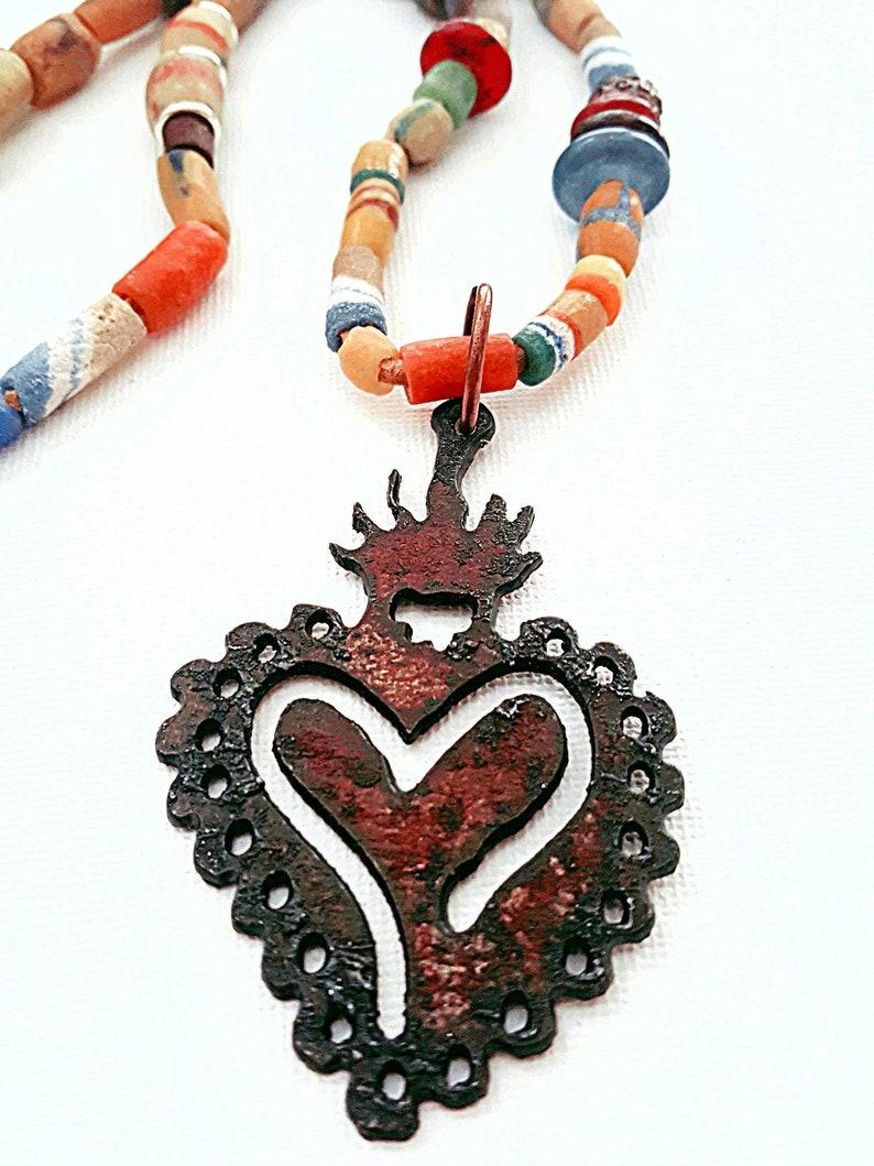 Boho Tribal Necklace  Sacred Heart Pendant  Rusted Iron image 0