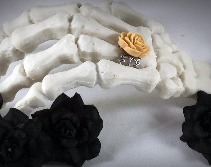 Flower Ring Rose Ring Rose Filigree Ring Light Brown Rose Ring