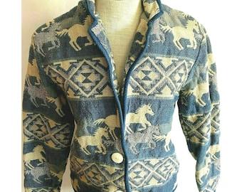 Vintage 90/'s New Identity Brown Patterned Metal Snap Vest Size Large