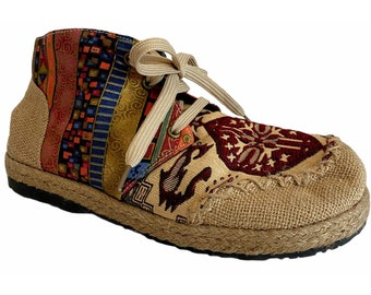 Patchwork Shoes Vegan Burlap Lace Up EU 39 US 8.5 Tire Sole Hippy Boho Handmade