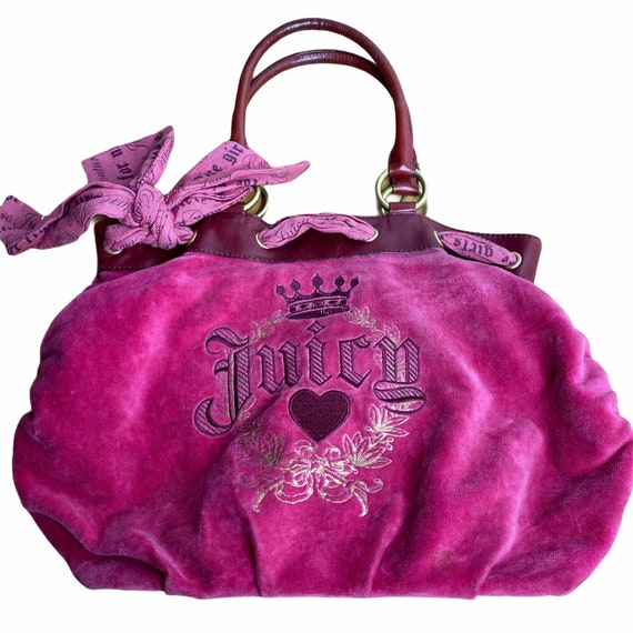 Juicy Couture Pink Velour Tote Bag Purse with KeyC