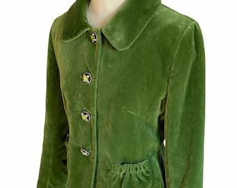 Charles Gray London Green Velvet Jacket Fitted Blazer Sz M Victorian Rhinestone