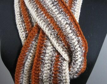 Angora/Alpaca Hand Spun Scarf/ Rust Orange and Angora Bunny and Alpaca Scarf/ Autumn Colors Scarf