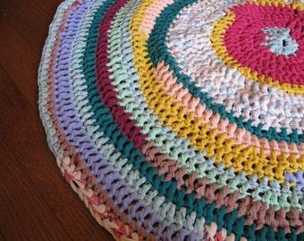 Multi-Colored Pastel T-Shirt Yarn Rag Rug/Circle Rug/Scrap Yarn Rug/Mandala/Mandela Rug