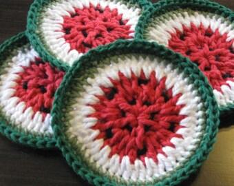 Watermelon Coasters/Crochet Cotton Drink Coasters