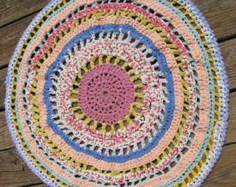 Pastel colors Mandela Rug/Little Girl Bedroom Rug/HandCrocheted Rag Rug/Mandala Rug