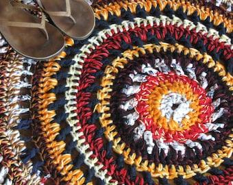 Mandela/Mandala Rug/Hand Crocheted T-Shirt Yarn Rag Rug/Harvest Colors Rug--Orange/Red/Black/Yellow/Rust