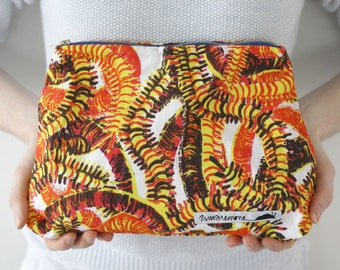 Quirky handmade centipede pouch, colorful purse, coin pouch