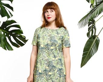 Handmade monstera shift dress, leaf dress, printed dress