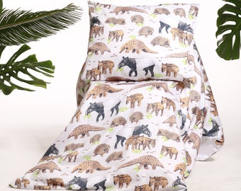 Handmade tapir, pangolin & echidna bedding, endangered animal bedsheets