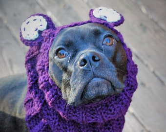 Plum Bear Dog Snood MADE TO ORDER