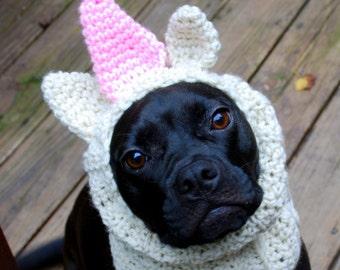 Dog Snood Pink Unicorn MADE TO ORDER
